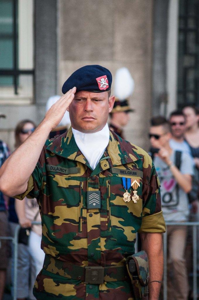 A military salutes.