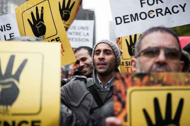 Morsi supporters protest against the military coup in Brussels